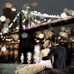 Wall art print and canvas. Dianne Loumer, Kissing in a NY Night (detail)