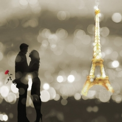 Wall art print and canvas. Dianne Loumer, A Date in Paris (BW, detail)