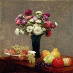 Wall art print and canvas. Henri Fantin-Latour, Asters and Fruit on a Table