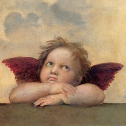 Wall art print and canvas. Raffaello, Angel II - Madonna Sistina (detail)