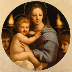 Wall art print and canvas. Raffaello, Madonna dei candelabri
