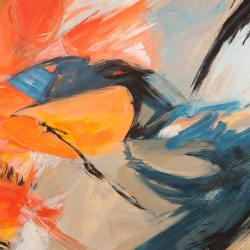 Wall art print and canvas. Jim Stone, Oranges & Blues (detail)