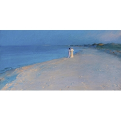 Quadro, stampa su tela. Peder Severin Krøyer, Sera d'estate a South Beach, Skagen