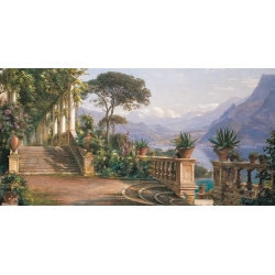 Wall art print and canvas. Carl Frederic Aagaard, Lodge on Lake Como