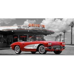 Cuadro de coches en canvas. Gasoline Images, Historical diner, USA