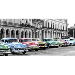 Wall art print and canvas. Cars parked in line, Havana, Cuba