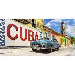 Wall art print and canvas. Pangea Images, Vintage car and mural, Cuba
