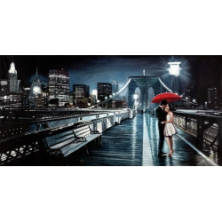 Wall art print and canvas. Pierre Benson, Kissing on Brooklyn Bridge