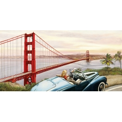 Quadro, stampa su tela. Pierre Benson, In Vista del Golden State Bridge