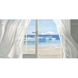 Quadro, stampa su tela. Pierre Benson, Window by the Sea (dettaglio)