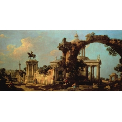 Wall art print and canvas. Canaletto, Capriccio of Roman Ruins with a Renaissance Church
