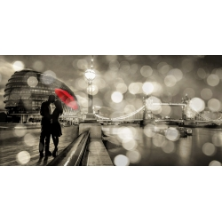 Wall art print and canvas. Dianne Loumer, Kissing in London (BW)