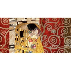 Wall art print and canvas. Gustav Klimt, Klimt Patterns – The Kiss (Pewter)