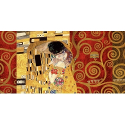 Wall art print and canvas. Gustav Klimt, Klimt Patterns – The Kiss (Gold)