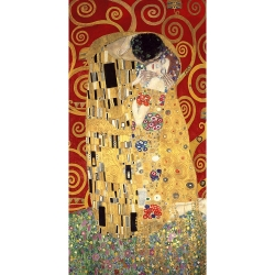 Wall art print and canvas. Gustav Klimt, The Kiss (Red variation)