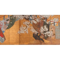 Wall art print and canvas. Wind-screen and cherry tree