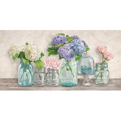 Wall art print and canvas. Jenny Thomlinson, Flowers in Mason Jars