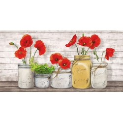 Poppies in Mason Jars