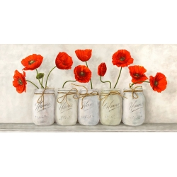 Wall art print and canvas. Jenny Thomlinson, Red Poppies in Mason Jars