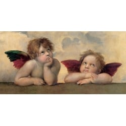 Wall art print and canvas. Raffaello, Angels - Madonna Sistina (detail)