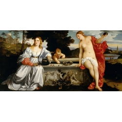 Wall art print and canvas. Tiziano, Sacred Love and Profane Love