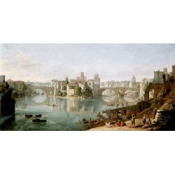 Wall art print and canvas. Gaspar Van Wittel, The Tiber in Rome