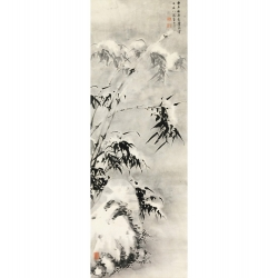 Wall art print and canvas. Bamboo and Rock in Snow