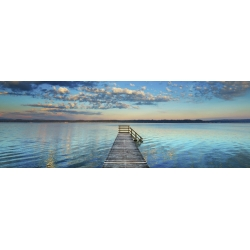 Wall art print and canvas. Krahmer, Boat ramp and filigree clouds, Bavaria, Germany
