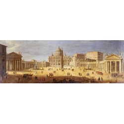 Wall art print and canvas. Gaspar Van Wittel, Piazza San Pietro, Rome (detail)