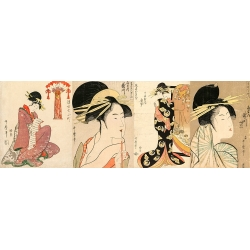 Wall art print and canvas. Utamaro Kitagawa, A Selection of Beautiful Women