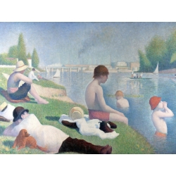 Wall art print and canvas. Georges Seurat, Bathers at Asnieres (detail)