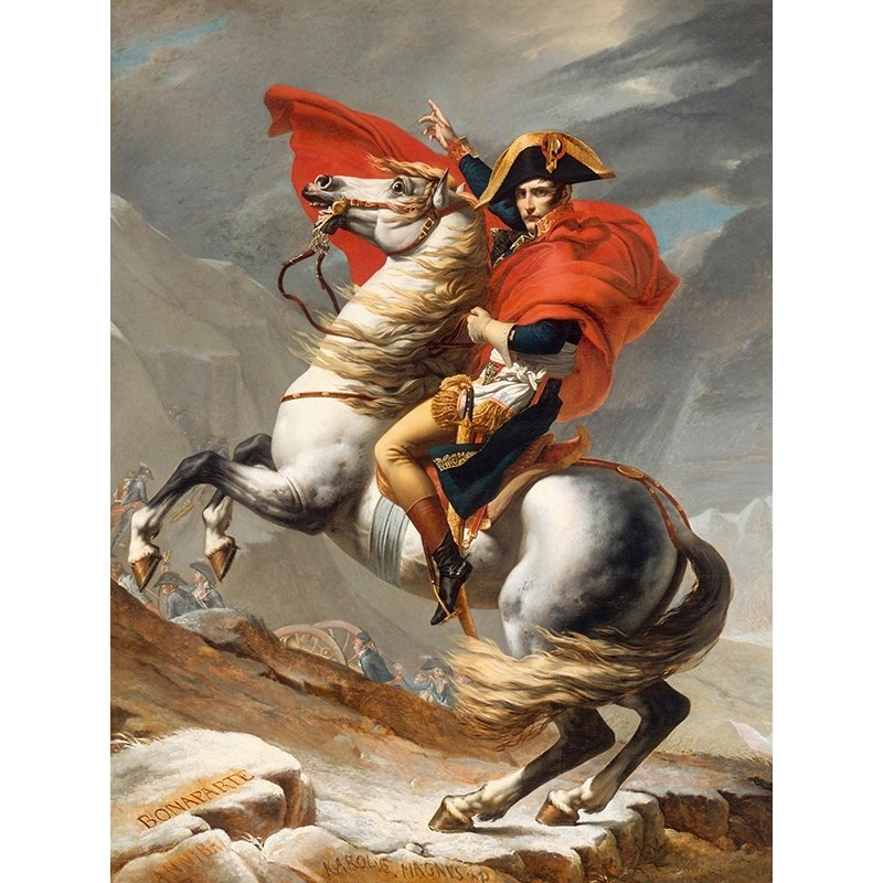 Wall art print and canvas. Jacques-Louis David, Napoleone Bonaparte passing the Grand Saint-Bernard