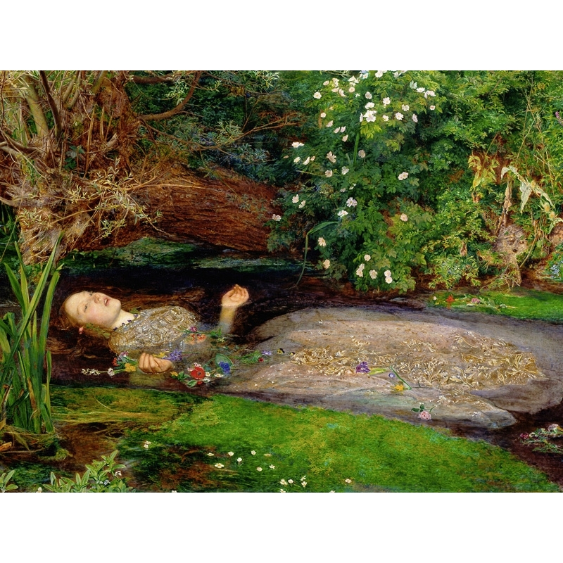 Wall art print and canvas. John Everett Millais, Ophelia