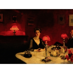 Quadro, stampa su tela. John Singer Sargent, A Dinner Table at Night