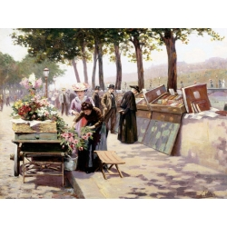 Wall art print and canvas. Jules Antoine Voirin, The Quays of the Seine, Paris