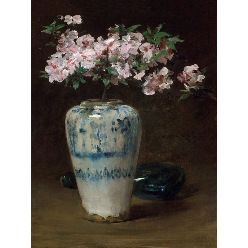 Cuadro en canvas. William Merritt Chase, Azalea rosada: florero chino