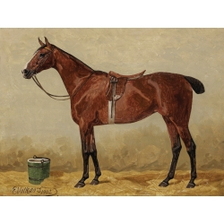 Wall art print and canvas. Emil Volkers, Bay in a stable