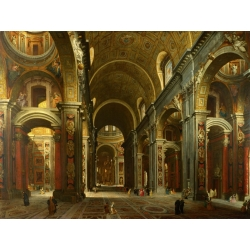 Wall art print and canvas. Giovanni Paolo Panini, The interior of St Peter's, Rome