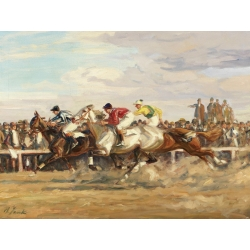 Wall art print and canvas. Angelo Jank, Horse race