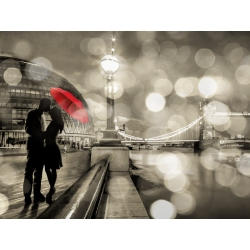 Wall art print and canvas. Dianne Loumer, Kissing in London (detail, BW)