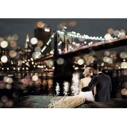 Wall art print and canvas. Dianne Loumer, Kissing in a NY Night
