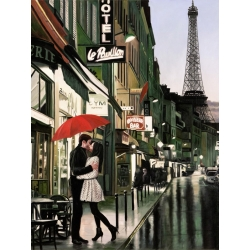 Wall art print and canvas. Pierre Benson, Romance in Paris (detail)