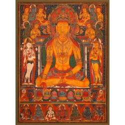 Wall art print and canvas. Buddha Ratnasambhava with Wealth Deities