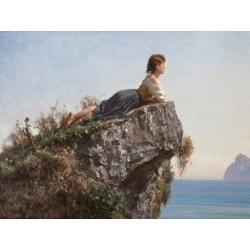 Wall art print and canvas. Filippo Palizzi, The girl on the rock in Sorrento