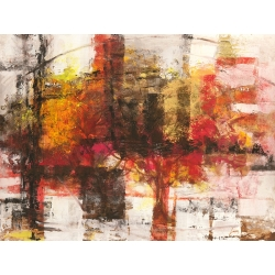 Wall art print and canvas. Lucas, Crimson Abstract