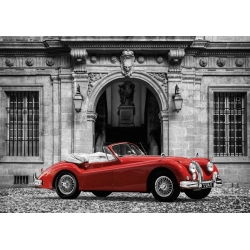 Quadro, stampa su tela. Gasoline Images, Luxury Car in front of Classic Palace