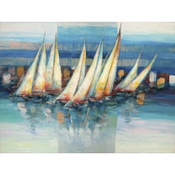 Wall art print and canvas. Luigi Florio, Sails in the blue
