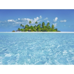 Wall art print and canvas. Krahmer, Tropical lagoon with palm island, Maldives