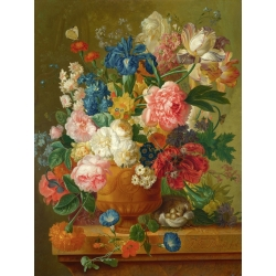 Wall art print and canvas. Bosschaert the Elder, Flowers in a vase