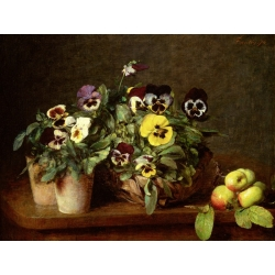 Wall art print and canvas. Henri Fantin-Latour, Still Life with Pansies